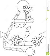 anchor with flowers coloring page stock illustration image 53482184