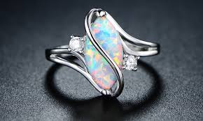 s ring oval cut white opal and cubic zirconia s ring by peermont