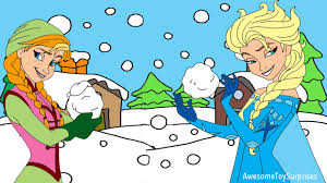 disney frozen anna elsa snowball fight animated coloring page fun