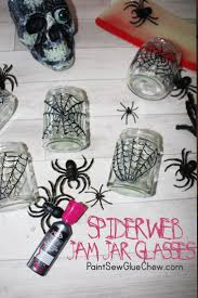 halloween spider web jam jar glasses paintsewgluechew
