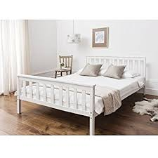 double bed double bed in white 4 6 double bed wooden frame white dorset amazon