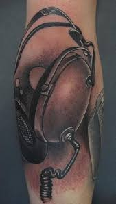 tattoo inspiration black and grey vintage headphones tattoo