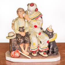 the runaway clown and boy ceramic figurine by norman rockwell