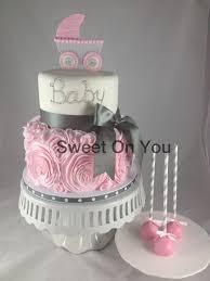 ruffled baby cake baby shower cake original design by cakes n