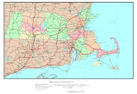 Large Map Of United States by Large Detailed Administrative Map Of Massachusetts State With