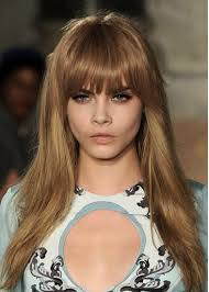 hairstyles with bangs and middle part pucci long caramel hair with middle part and front bang
