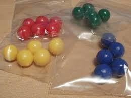 solid plastic balls yellow blue green 19 mm diameter