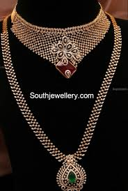 diamond long necklace images Diamond necklace and long chain jewellery designs jpg