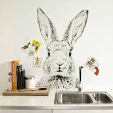 rabbit print magnetic wallpaper by sisters guild