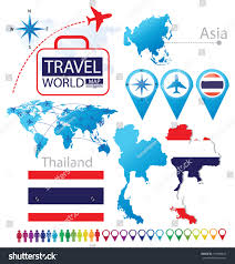 Asia World Map by Flag Asia World Map Travel Vector Stock Vector 157080254