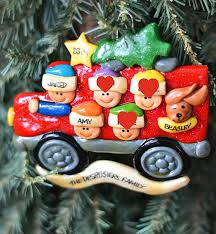 ornaments with 5 person car family and personalized
