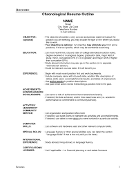 Chronological Order Resume Example by Resume Outline 1 Resume Cv