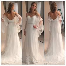 trumpet sleeve wedding dress 2016 country style bell sleeve boho lace wedding