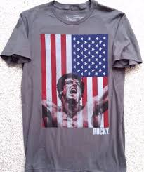 Red White Flag With Blue Star Rocky American Flag T Shirt Gray Red White Blue Usa Star Stripe