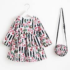 Autumn Winter Floral Print Toddler Girl Dresses Kids Clothes