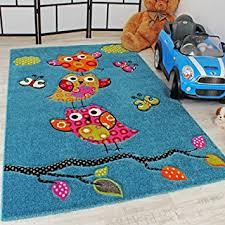 Modern Kids Rug Kids Carpet Cute Owls Modern Children Rug In Blue Turquoise Orange