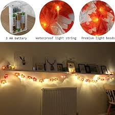 battery lighted fall garland 40 led maple leaves harvest fall garland lights string for indoor