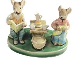 vintage porcelain mice afternoon tea figurine collectible