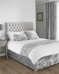 verona crushed velvet bed runner in silver terrys fabrics uk