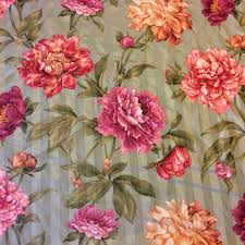 pink home decor fabric nl240 english sage striped floral chintz 100 cotton drapery home