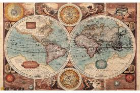 mural old world map in blue hue