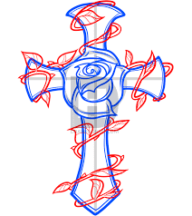 how to draw a rose and cross tattoo step by step drawing guide