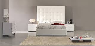 lyrica white bonded leather tall headboard bed