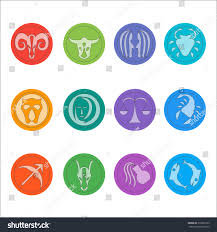 zodiac color zodiac signs flat thin set simple stock vector 318920129