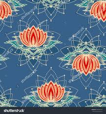 seamless pattern lotus flowers can be stock vector 459399739