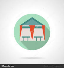tent cafe flat round vector icon u2014 stock vector