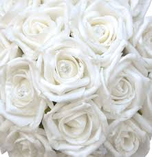 bridesmaids pure white diamante rose wedding posy bouquet