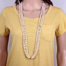 freshwater pearl necklace pendant images 3 strands rice baroque pearl long necklace wedding women jpg