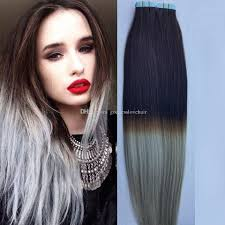 Dying Real Hair Extensions by New Product Silver Grey Tape In Human Hair Extensions Virgin