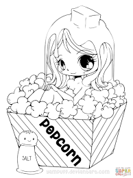 coloring pages kids chibi popcorn coloring page
