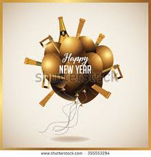 new years party blowers happy new year golden balloons chagne stock vector 355553294