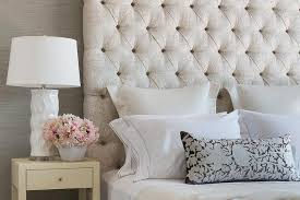 Cream Tufted Bed Cream Damask Headboard With Cream Fabric Nightstand Transitional