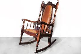 sold victorian era oak rocking chair with leather 1890s rehab
