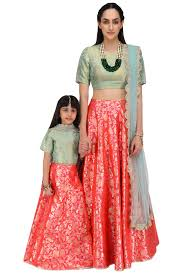 sari halloween costume blush and mint embroidered lehenga set for kids available only at
