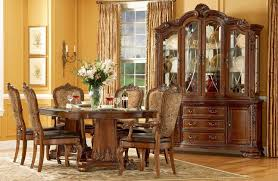 Pedestal Tables And Chairs Old World Pedestal Dining Table With Fabric Back And Leather Seat