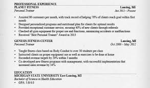 personal trainer resume objective personal trainer resume template