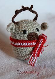 reindeer crocheted on a kinder surprise container kinder