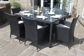 6 Seat Patio Dining Set Weatherproof Rattan 6 Seater Garden Furniture Dining Set In Black