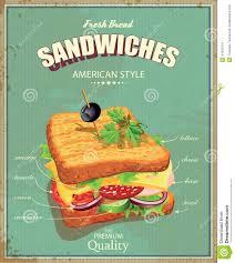 affiche cuisine vintage affiche de sandwich dans le style de vintage illustration de vecteur