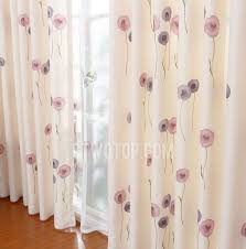 Girls Bedding And Curtains by Violet Floral Pattern Beige Artificial Fiber Girls Bedroom Curtains