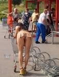 No panties pussy shot shopping