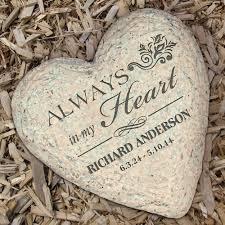 personalized memorial heart garden stone with name and dates