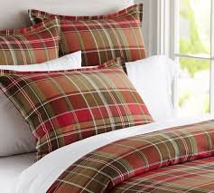 tahoe plaid duvet cover u0026 sham pottery barn