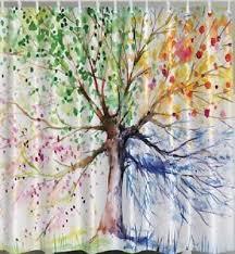 four seasons tree fabric shower curtain summer fall winter