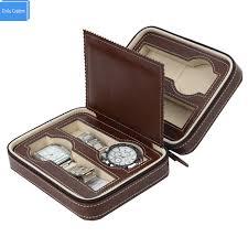 watch travel case images Luxury brown zippered leather watch travel case sport storage box jpg