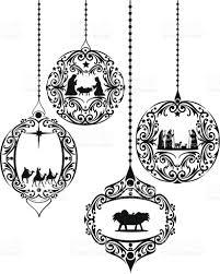 Animal Ornaments Black And White Nativity Scene Ornaments Stock Vector Art